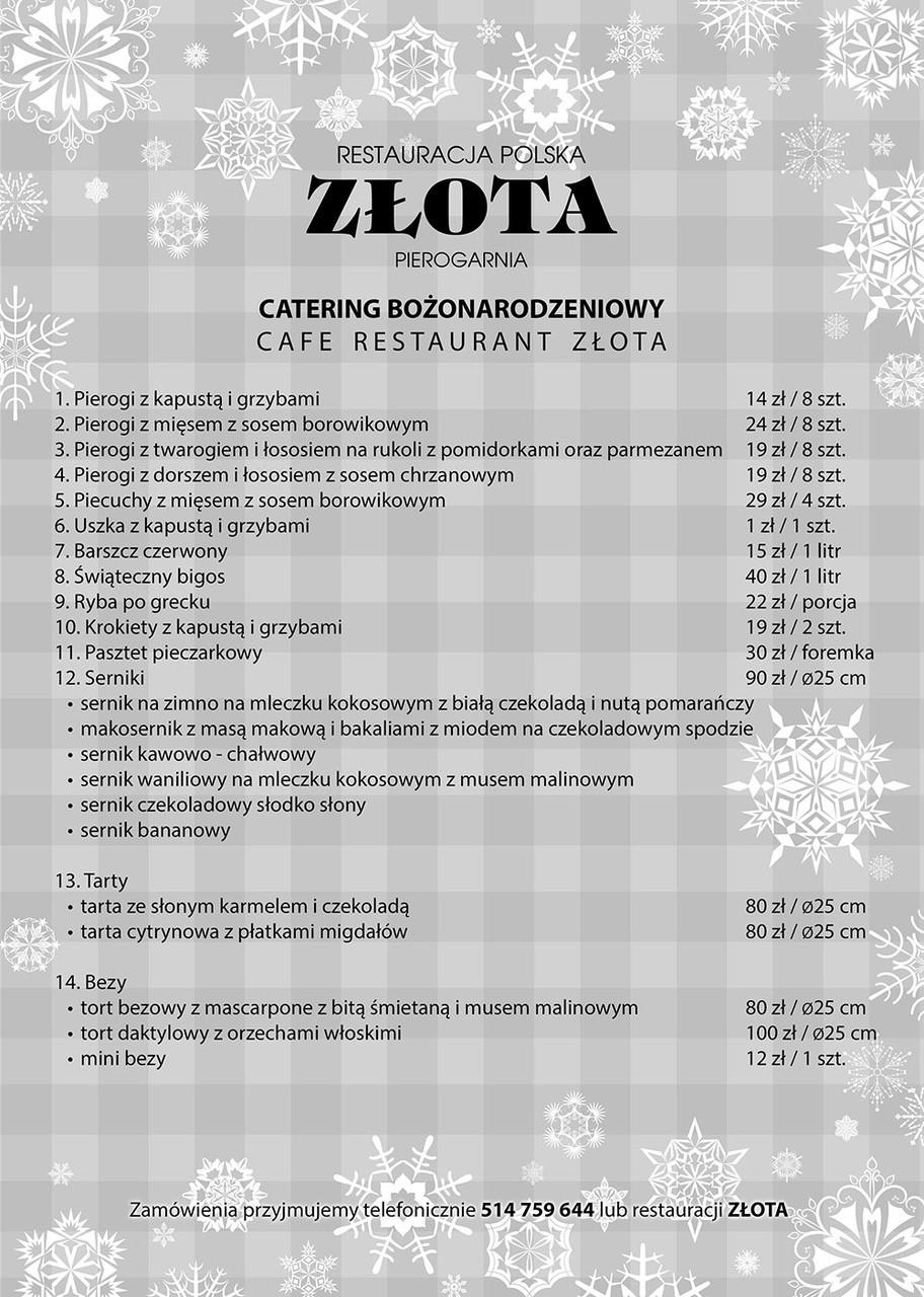 Catering świąteczny Restauracja Złota Kołobrzeg